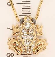 "Кулон ХР Позолота 18К с кристаллами Swarovski на цепочке ""Лягушка с кристаллами"" длина 40.5-45.5см"