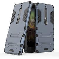 Ударопрочный чехол Epik Transformer для Nokia 6.1 с мощной защитой корпуса (Металл / Gun Metal)