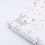 """Сатин ткань """"Сидящий мишка, косуля и розовая лисичка"""" на белом № 2320с, фото 4"""