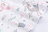 """Сатин ткань """"Сидящий мишка, косуля и розовая лисичка"""" на белом № 2320с, фото 5"""