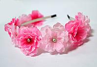 Обруч с малиново -розовыми цветками яблони