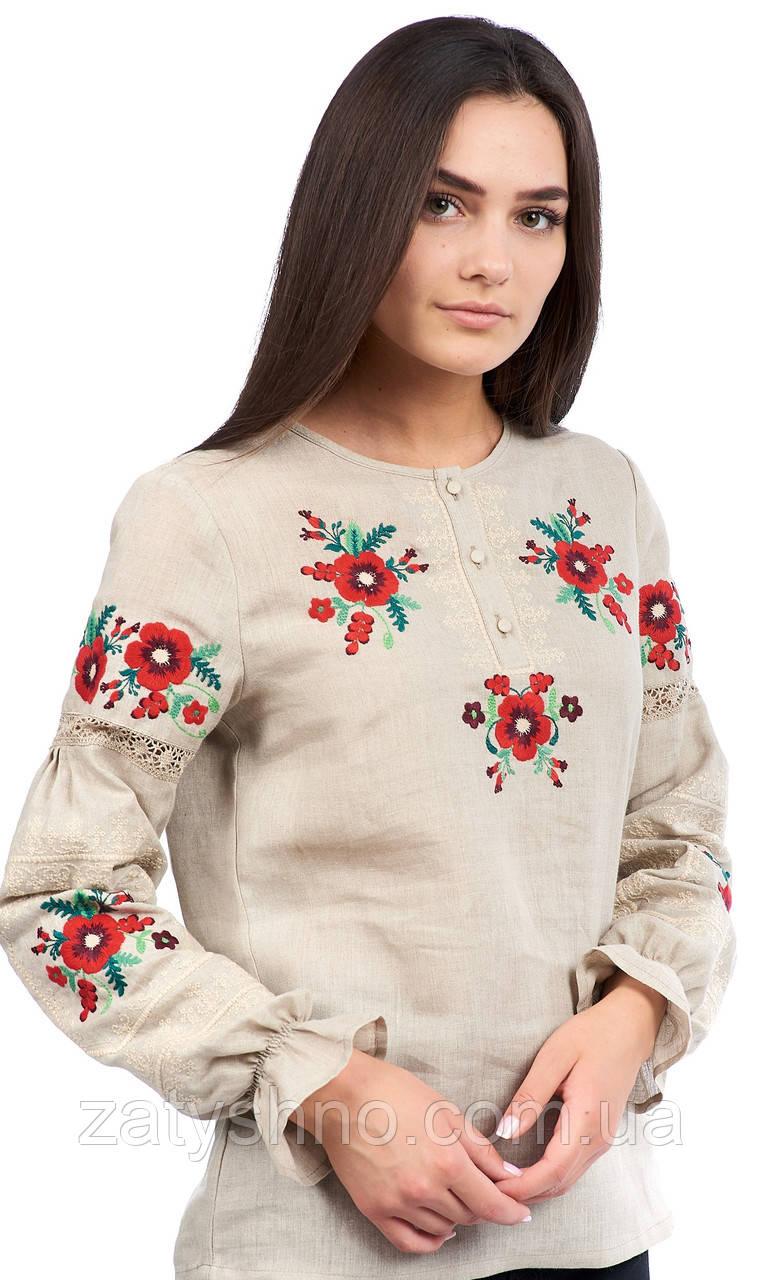 Вышиванка женская с красными цветами