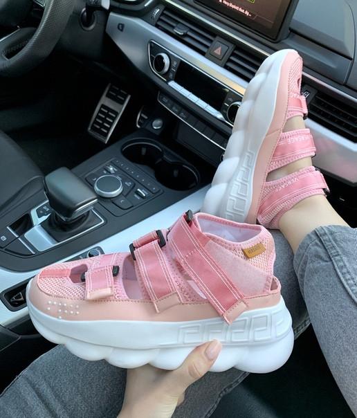Женские Сандали Versace Chain Reaction Pink , Реплика