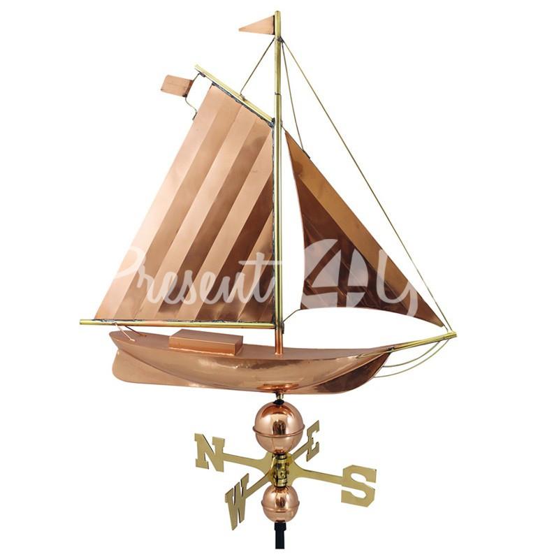 Морской сувенир флюгер Корабль с латуни и меди Sea Club