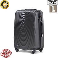 Большой пластиковый  дорожный чемодан темно-серый на 4 колесах 77 Х 48 Х 32 СМ  Wings Украина Одесса