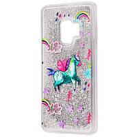 TPU+PC чехол Liquid (glitter) для Samsung A530 Galaxy A8 (2018) (13.) Единорог
