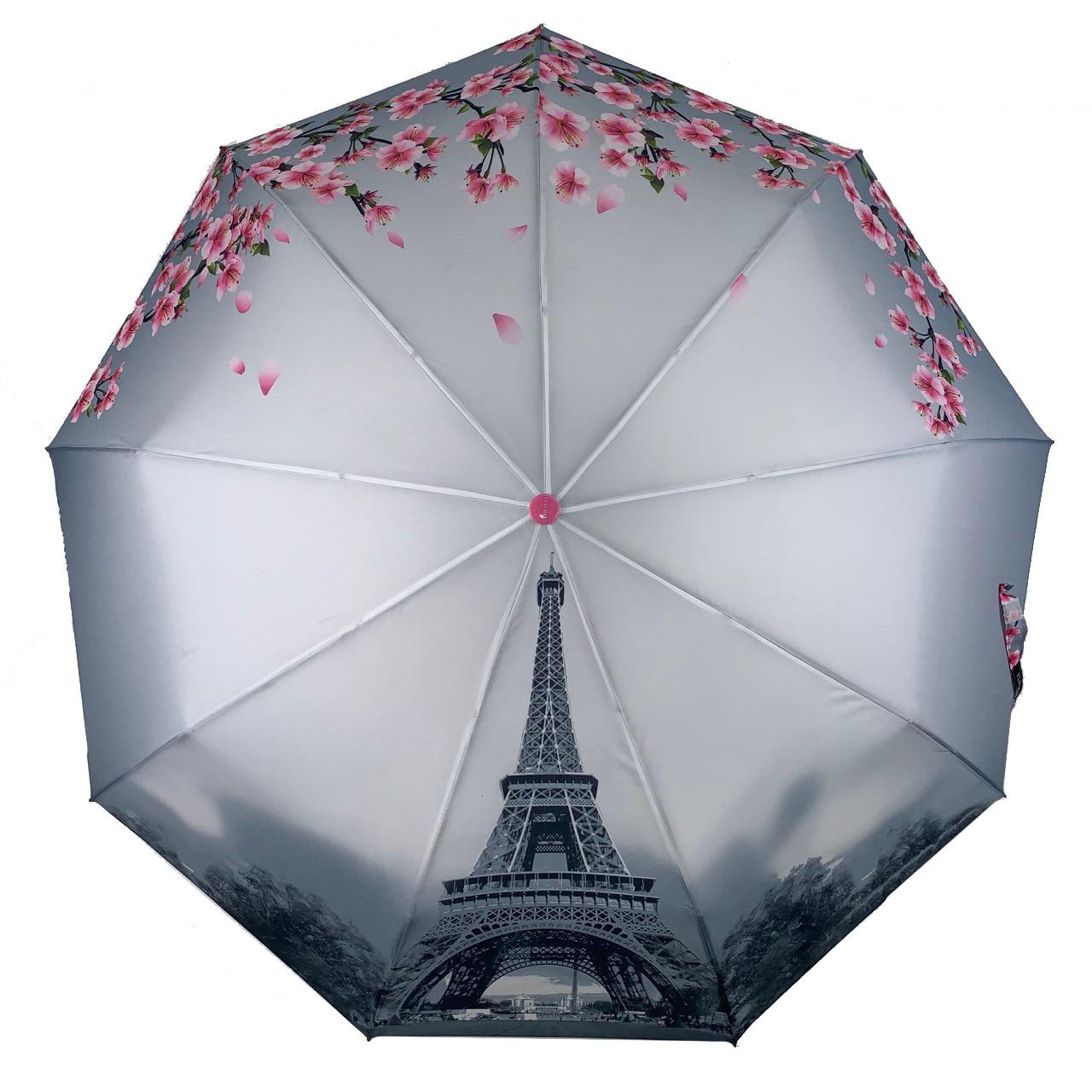 Женский зонт-полуавтомат Flagman с Эйфелевой башней и сакурой, розовый, 744-1