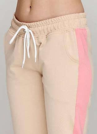 Штани жіночі спортивні, об'єднані бежевий-персиковий, фото 2