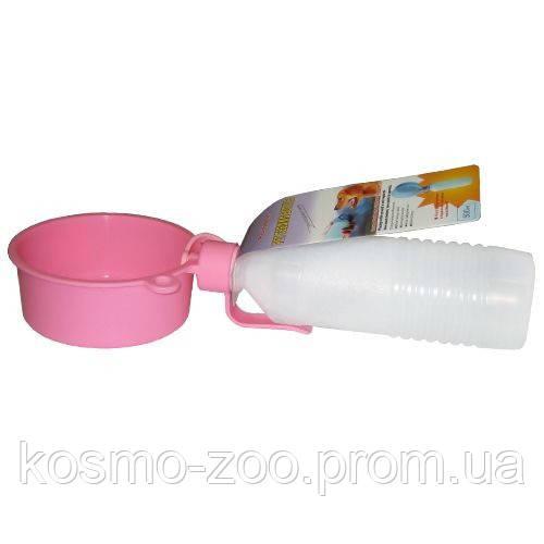 Дорожная поилка для собак с миской пластик 0,5л