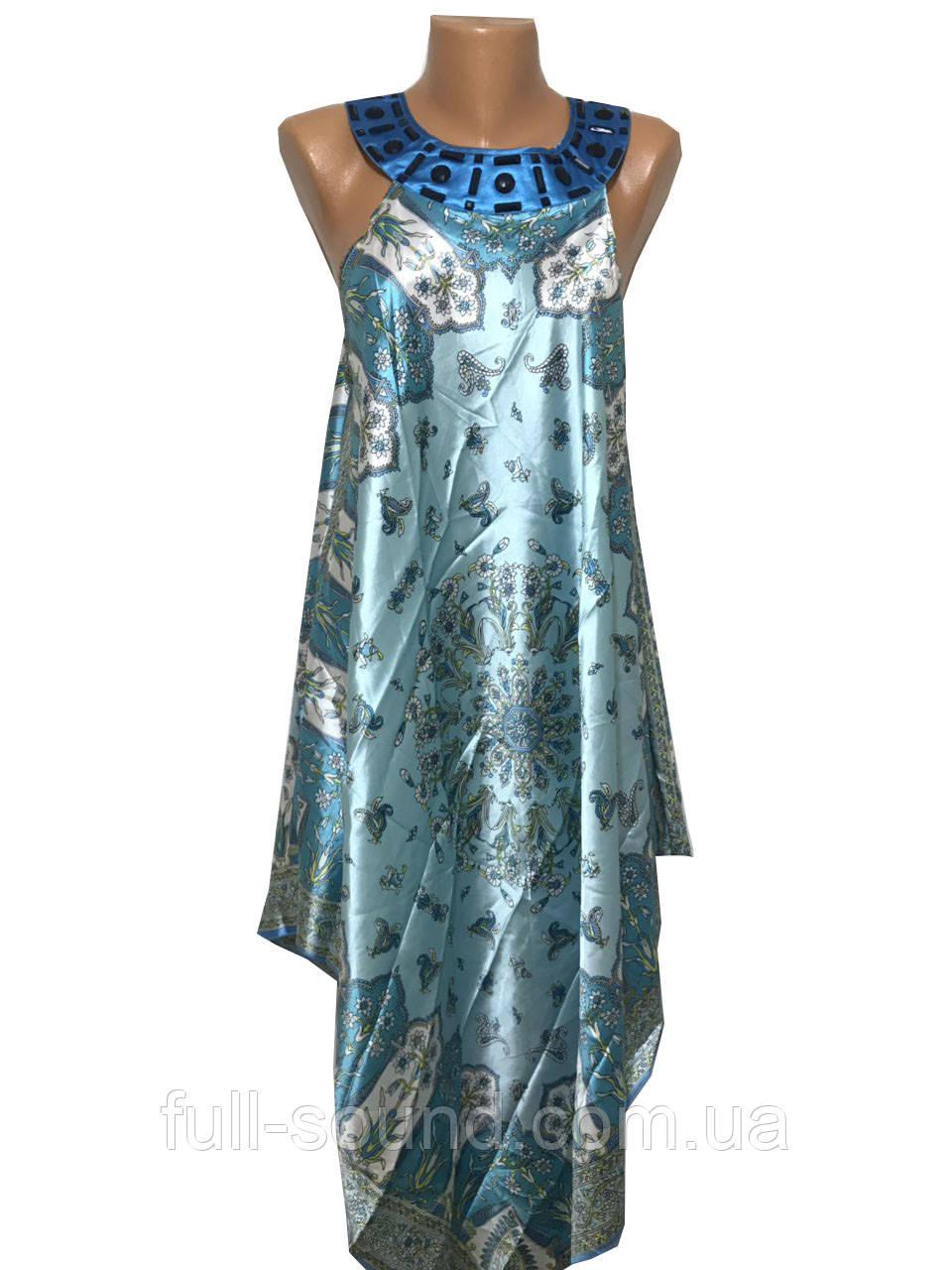 Шелковый сарафан платок со стразами