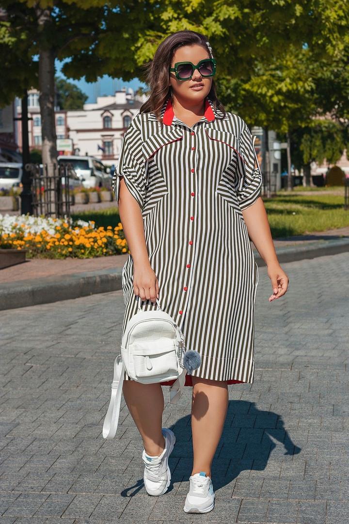 """Летнее платье-рубашка в полоску """"Lizzie"""" с коротким рукавом и карманами (большие размеры)"""