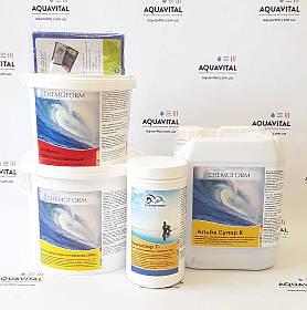 Хімія для басейнів, комплект «Big» (шок-хлор, мультитаб, альгіцид, pH-мінус, тестер) на 30 — 60 м3