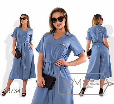 Элегантный летний  женский комбез с брюками-кюлотами  50-56  размер, фото 2