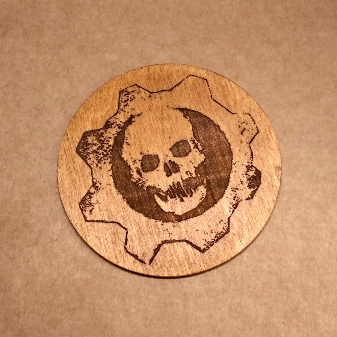 Костер деревянный. Подставка под кружку череп.  Деревянная подставка под чашку