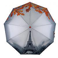 Женский зонт-полуавтомат Flagman с Эйфелевой башней и листьями, оранжевый, , 744-2