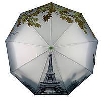 Женский зонт-полуавтомат Flagman с Эйфелевой башней и листьями, зеленый,  744-3