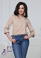 Бежевая легкая блузка на пуговицах 003В/03, фото 1