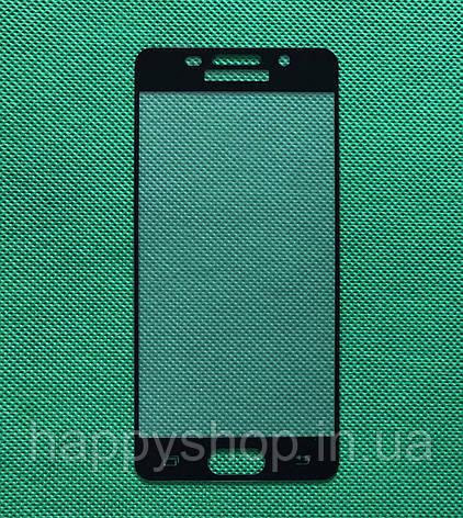 Защитное стекло Full screen для Samsung Galaxy A3 2016 (A310) Черное, фото 2