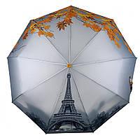 Женский зонт-полуавтомат Flagman с Эйфелевой башней и листьями, желтый, 744-4