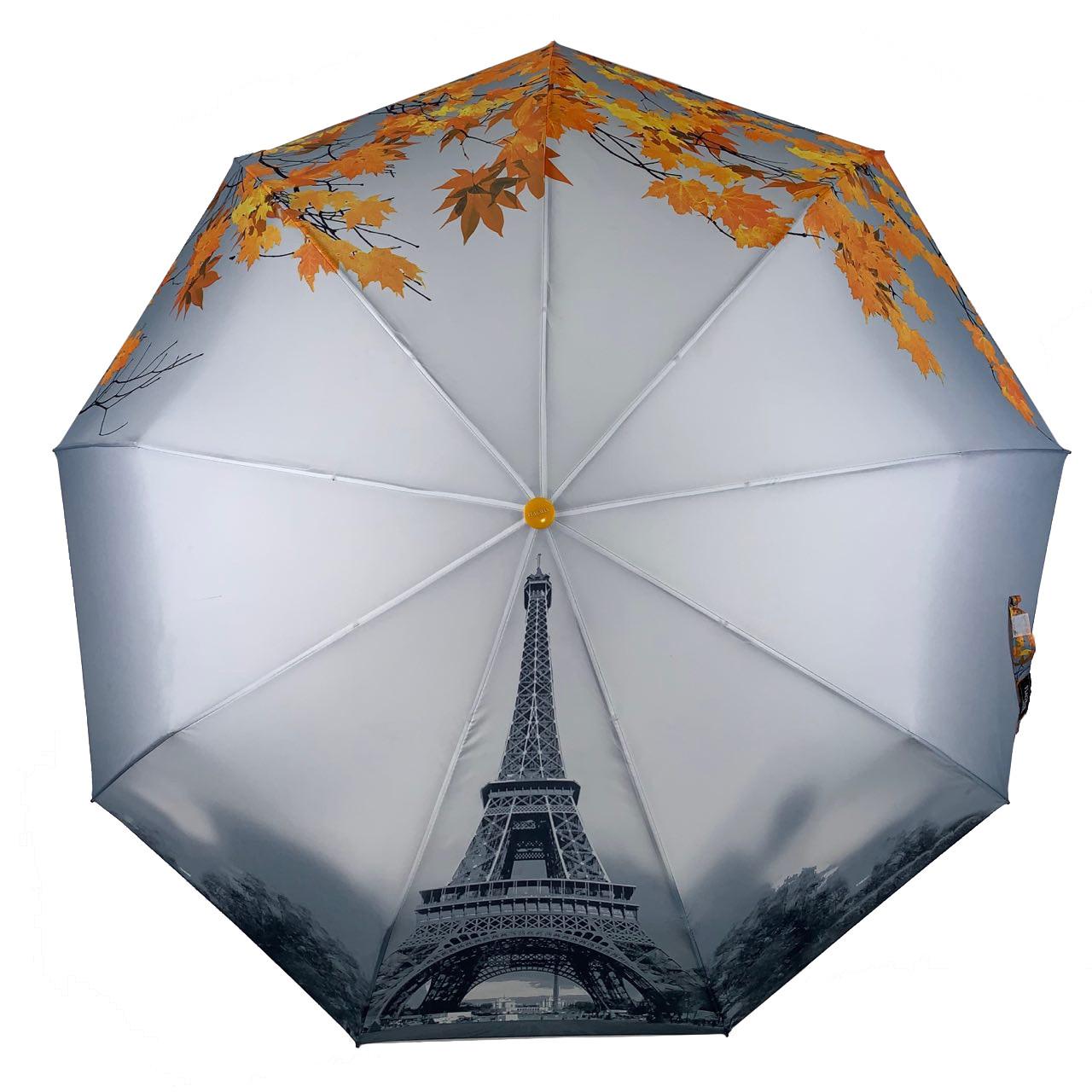 Женский зонт-полуавтомат Flagman с Эйфелевой башней и листьями, желтый, 544-4