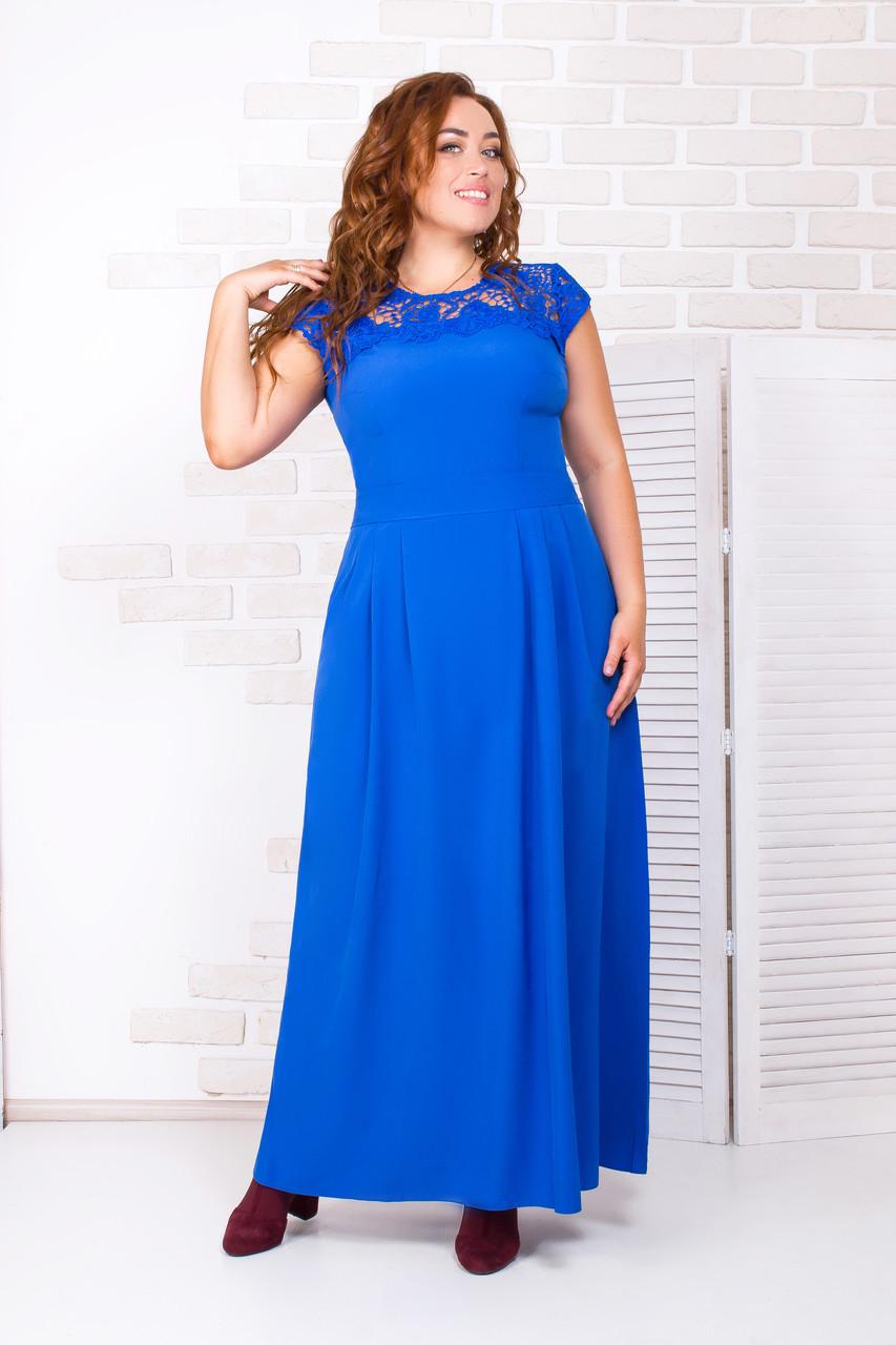 Нарядное длинное платье 52-54 р ( бирюзовый, электрик )