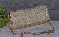 Элегантный вечерний золотистый женский клатч со стразами, фото 1