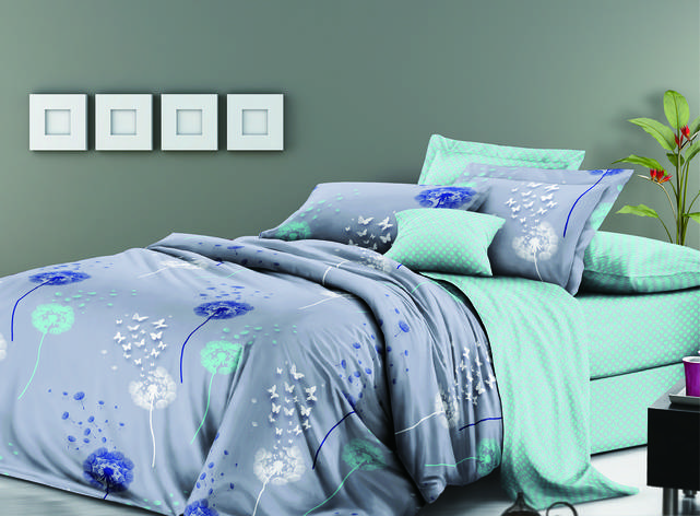 Двуспальный комплект постельного белья евро 200*220 сатин (12189) TM КРИСПОЛ Украина, фото 2