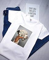 Футболка женская белая. Женская футболка с принтом. Базовая футболка.ТОП КАЧЕСТВО!!!