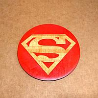 Костер деревянный. Подставка под кружку Супермен., фото 1