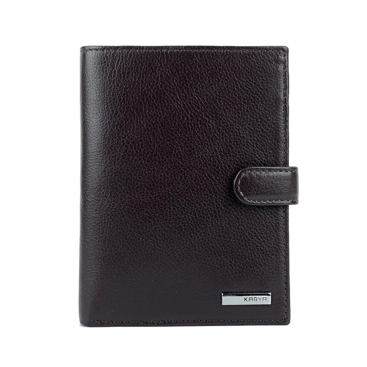 Мужское портмоне для водительских документов кожаное коричневое Karya 0914-39