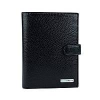 Мужской кожаный кошелек с обложкой для документов  0914-45 черный