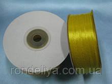 Лента атлас 0,3 см 90 м желтая