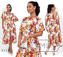Модное летнее женское в цветочном  принте  батал 48-54 размер