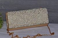 Золотистый вечерний женский клатч со стразами, фото 1