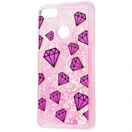 TPU+PC чехол Liquid (glitter) для Huawei P10 Lite (8.) Розовый алмаз