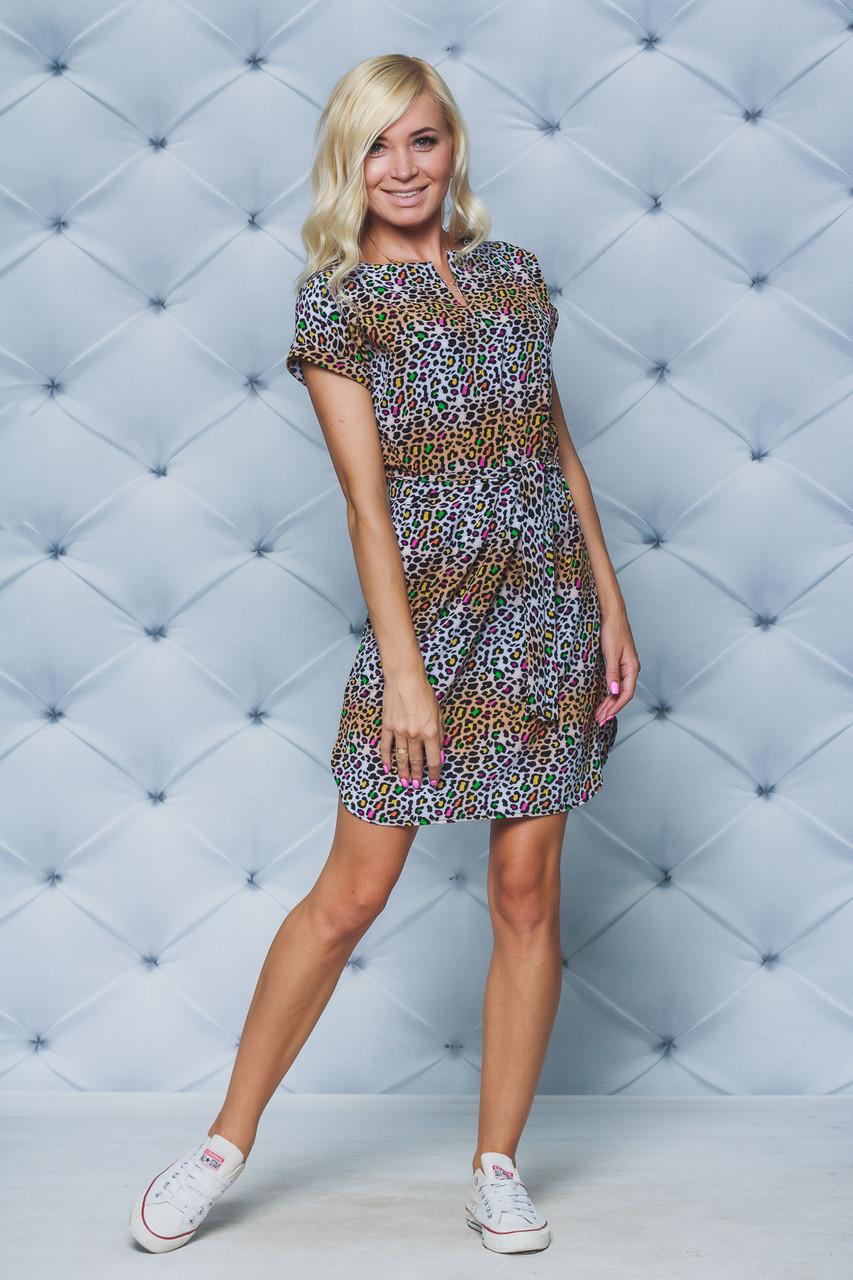 Женское летнее платье принт Леопард