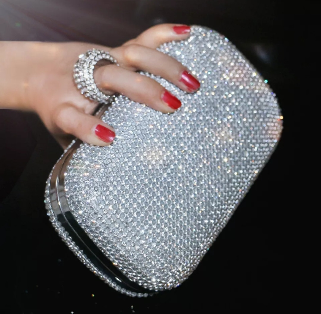 Клатч-бокс из камней женский вечерний выпускной серебро 2614-5