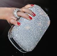 Клатч-бокс из камней женский вечерний выпускной серебро 2614-5, фото 1