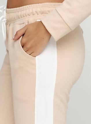 Штаны женские спортивные, комбинированные бежевый-молочный, фото 2