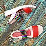 Босоножки женские кожаные на утолщенной подошве, цвет красный/белый, фото 4