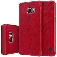 Кожаный чехол книжка Nillkin Qin Series для Samsung N935 Galaxy Note Fan Edition (Красный)