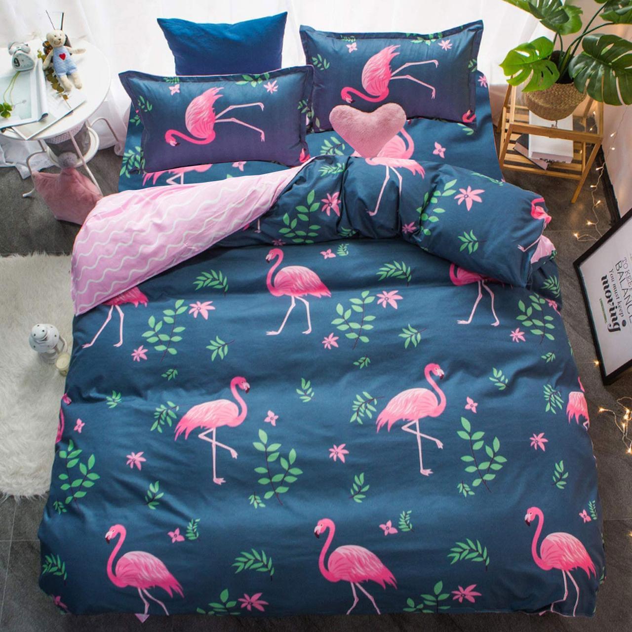 Комплект постельного белья Розовый фламинго с простынью на резинке (евро) Berni Home