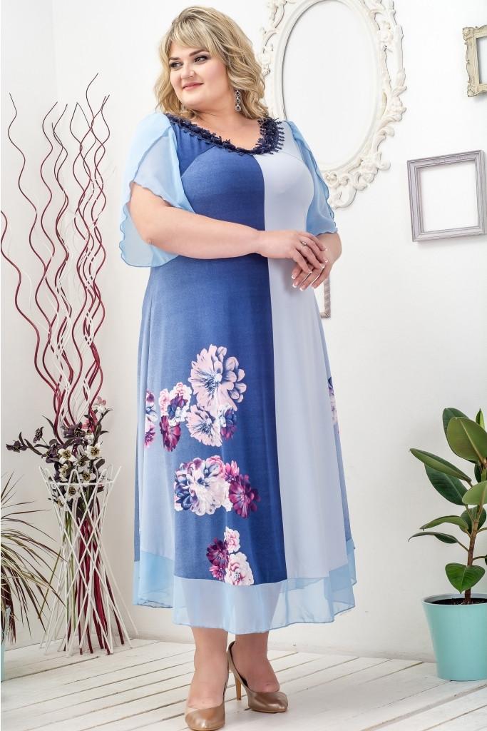Яркое летнее платье Ульяна голубой (60-66)