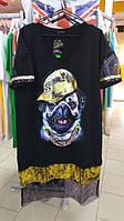 Платье трикотажное Собака с пайетками