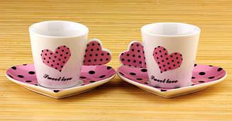 Чашки с блюдцем Cinaya Сердечко набор розовые (NK38)