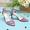 Босоніжки жіночі замшеві на підборах, колір-ліловий, фото 2