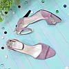 Босоніжки жіночі замшеві на підборах, колір-ліловий, фото 3