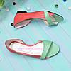 Женские кожаные балетки на низком ходу, цвет мята/коралл, фото 3