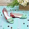 Женские кожаные балетки на низком ходу, цвет мята/коралл, фото 4