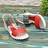 Босоножки женские кожаные на утолщенной подошве, цвет красный/белый, фото 2
